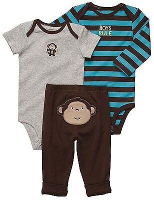 New NWT Carters Baby Boys 3 Piece Bodysuit Set Clothes 12 18 24 Months Monkey