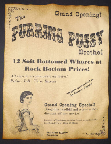 Purring Pussy Brothel Novelty Poster Handbill, old west, western, wanted, vert