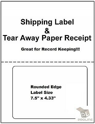 100 Laser Ink Jet Labels Click-n-ship With Tear Off Receipt -perfect For Usps