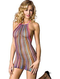 Sexy Rainbow Bodystocking Fishnet Micro Mini Dress Halter Neck Size 10-14 (041)