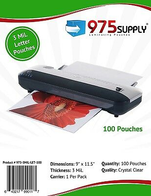 975 Supply 3 Mil. Letter Thermal Laminating Pouches 9 X 11.5 - 1000 Pouches