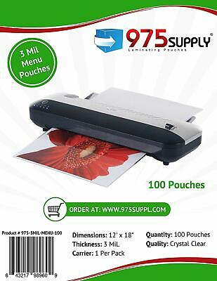 975 Supply 3mil. Menu Thermal Laminating Pouches. 12 X 18. 100 Pouches.