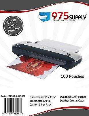 975 Supply 10mil. Letter Laminating Pouches. 9 X 11.5. Clear. 100 Pouches.