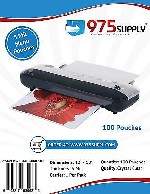 975 Supply 5mil.menu Thermal Laminating Pouches. 12 X 18. Clear. 100 Pouches.