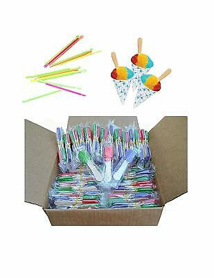 pack of 150 NEON Straws and Paper Snow Cone Cups and Snow Cone Candy Spoons