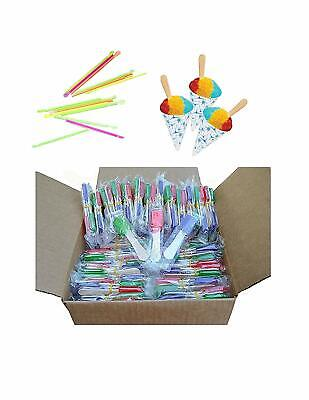 pack of 150 NEON Straws and Paper Snow Cone Cups and Snow Cone Candy Spoons](Candy Spoons)