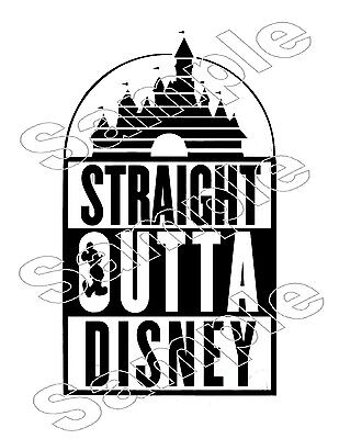 Straight Outta Disney Mickey Vacation Iron On T Shirt CUT Vinyl Fabric Transfer