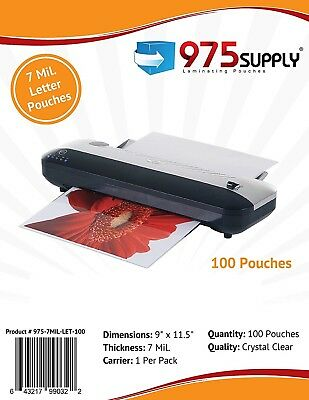 975 Supply 7 Mil. Letter Thermal Laminating Pouches. 9 X 11.5 - 100 Pouches