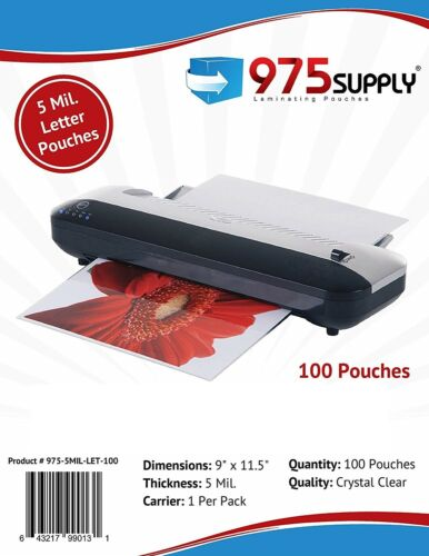 """975 Supply 5 mil. Letter Thermal Laminating Pouches 9"""" x 11.5"""" - 100 Pouches"""