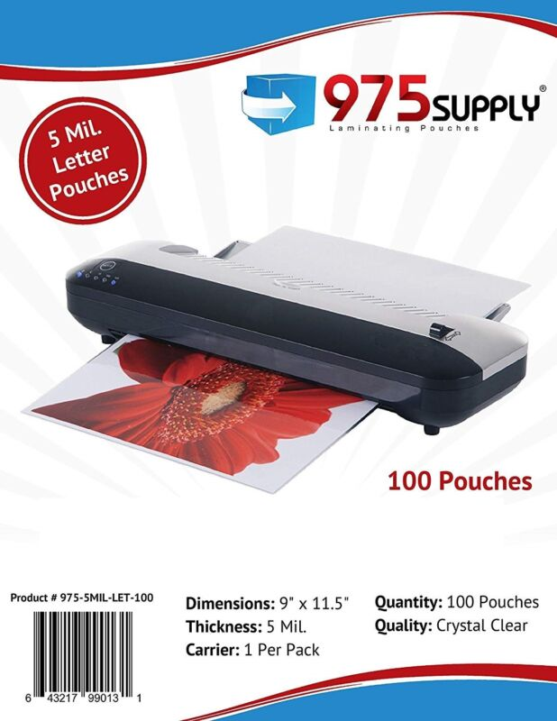 """975 Supply 5 mil Letter 100 Thermal Laminating Pouches 9"""" x 11.5"""" Scotch Quality"""
