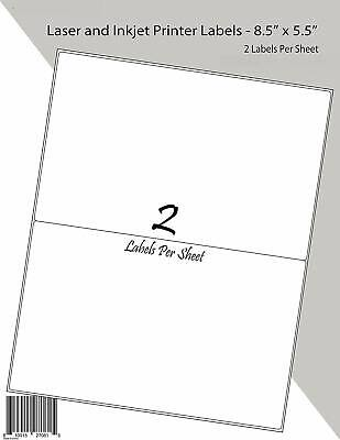 200 Half Sheet Address Mailing Labels Self Adhesive Shipping Label 8.5 X 5.5 100