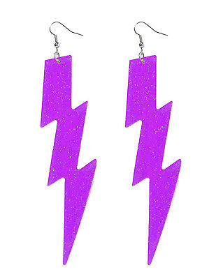 Neon Purple Plastic Glitter Lightning Bolt Earrings Club Candy Accessory