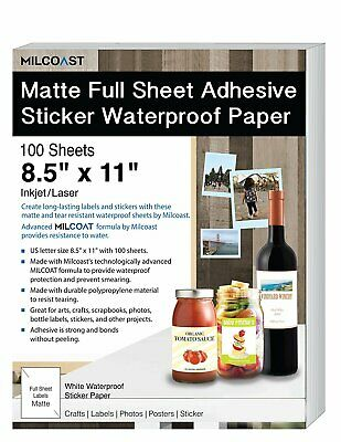 Milcoast Matte Full Sheet 8.5 X 11 Adhesive Tear Resistant Waterproof Paper
