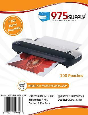 975 Supply 7mil. Menu Thermal Laminating Pouches. 12 X 18. Clear. 100 Pouches.