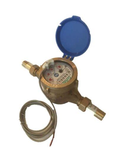 "DAE MJ-50 Lead Free Potable Water Meter, 1/2"" NPT Couplings, Pulse Output+Gallon"