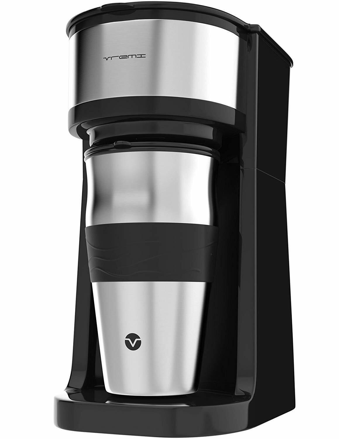 Vremi Single Cup Coffee Maker with 14 Oz Travel Mug and Reus