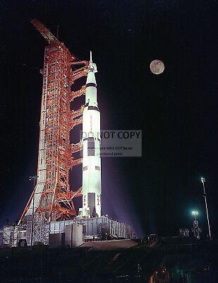 APOLLO 17 SATURN V AT LAUNCH PAD 39A UNDER FULL MOON - 8X10 NASA PHOTO (EP-165)
