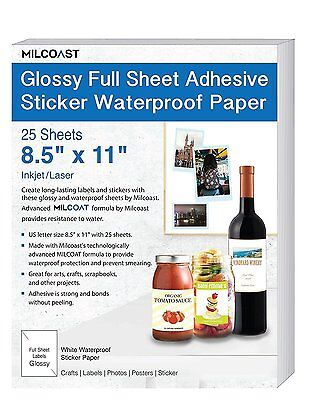 Milcoast Glossy Full Sheet 8.5 X 11 Adhesive Waterproof Photo Craft Paper