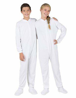 Child Christmas Pajamas (Footed Pajamas Solid White Fleece Size Kids XL Warm Winter New)