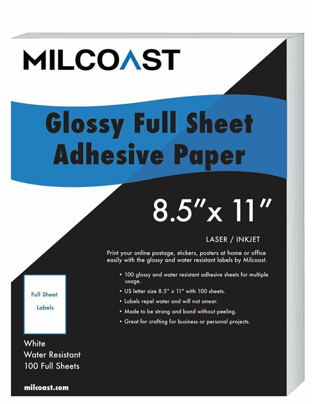 "Milcoast Full Sheet 8.5"" x 11"" Shipping Sticker Adhesive Labels Glossy Paper"
