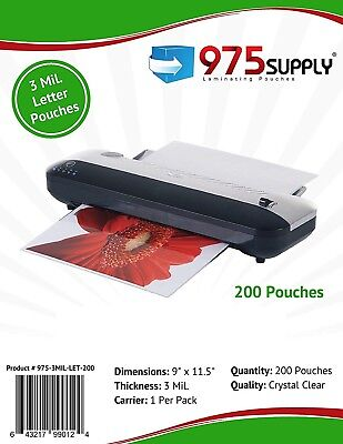975 Supply 3mil. Letter Thermal Laminating Pouches. 9 X 11.5. - 200 Pouches