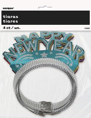 Happy New Year Glitter Tiara Headband Party Favors 4pk