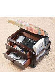 Tapestry Footstool with Drawers