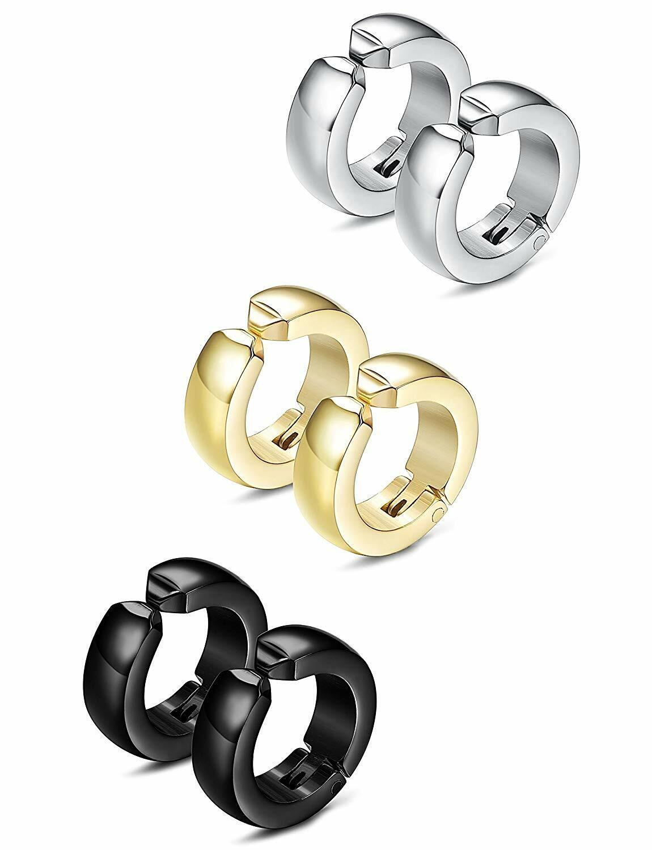 3 Pairs Unisex Stainless Steel Non-Piercing Magnetic Earrings Ear Clip Jewelry Earrings