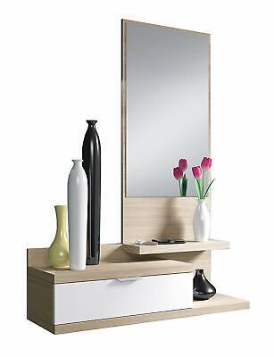 Mobile ingresso Maiorca sospeso bianco legno specchio entrata corridoio mensola