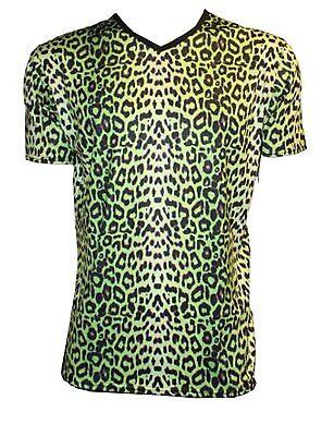 HERREN Grün Leopard Tier Druck T-Shirt Oberteil Maskenkostüm - Herren Leopard Kostüm