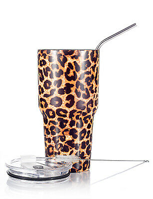 DYNAMIC SE 30oz Tumbler Stainless Steel with Lid Metal Straw and Brush (Leopard) (Tumblers With Lids And Straws)
