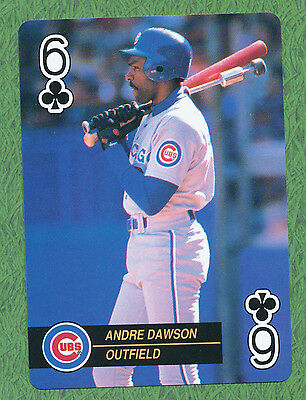 Andre Dawson Chicago Cubs baseball playing card single six of clubs - 1 card