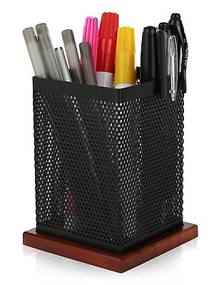Klearex Square Black Mesh Pen Pencil Holder Office Supply Cup- Desk Accessory
