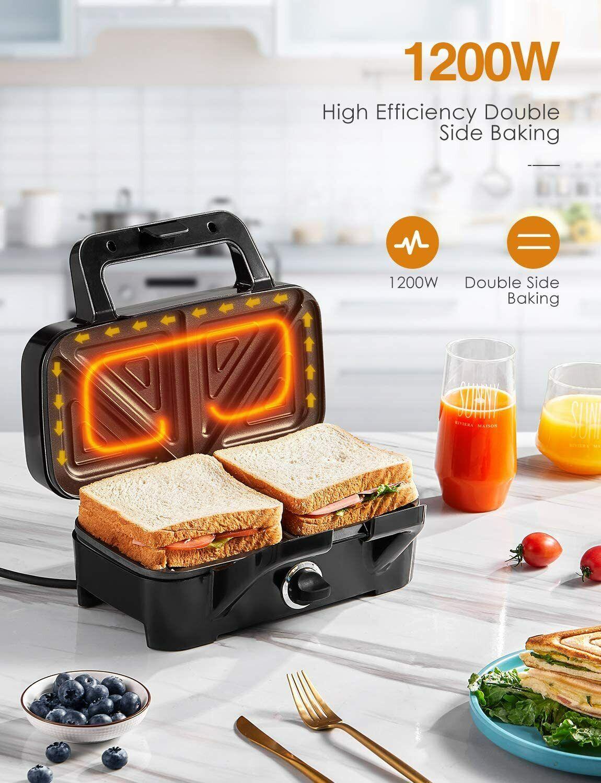 Decen Sandwich Maker, Waffle Maker, Sandwich Grill, 1200-Wat