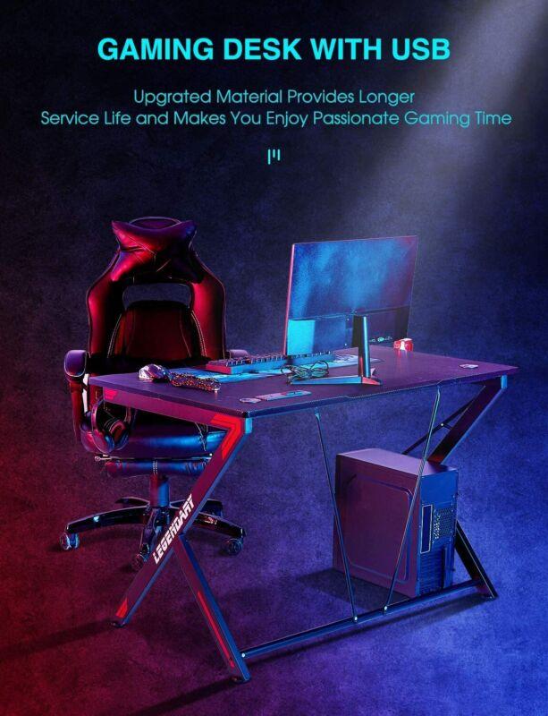 45'' Ergonomic Gaming Desk PC Study Table Workstation w USB Port Cup Holder