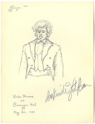 Victor Braun Canadian Baritone Carnegie Hall Autograph Original Drawing Signed