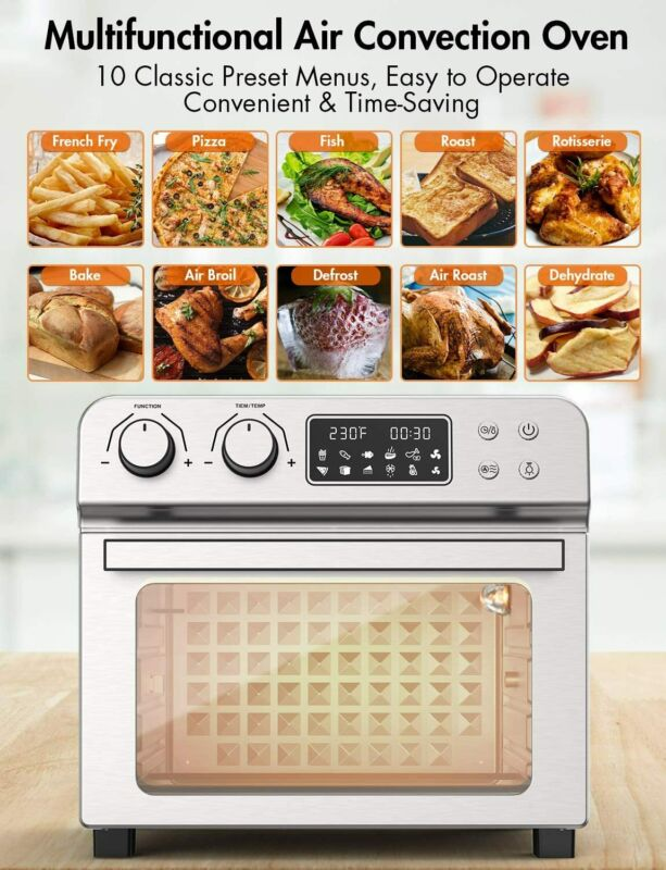 Ultra Large Air Fryer Convection Toaster Oven 24 Quart/6 Slices 1700W 150℉-450℉
