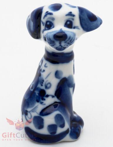 Gzhel Porcelain Dalmatian Dog Figurine handmade