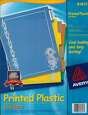 Avery Dragon Print Plastic Dividers 5 Tabs 8-12 X 11 In 81823