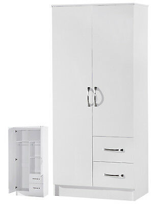 White Combi Wardrobe 2 Door 2 Drawer  Marina High Gloss Bedroom Furniture