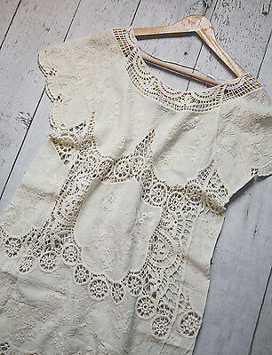 Ivory   Lace Embroidered Top Tunic Blouse Boho Romantic Size L Anthropologie
