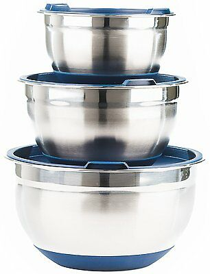 Fitzroy and Fox 3 Piece Stainless Steel Mixing Bowl Set with Lids, Non Slip