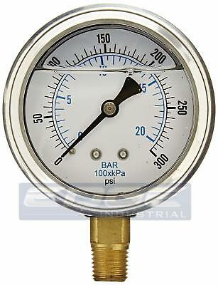 Liquid Filled Pressure Gauge 0-300 Psi 2.5 Face 14 Npt Lower Mount Wog