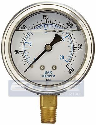 Liquid Glycerin Filled Pressure Gauge Hydraulic 2.5 Face 0-300 Lower 14  Mi