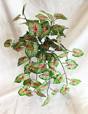 Caladium Bush Green & Pink Home Office Centerpieces Decoration Artificial Plants