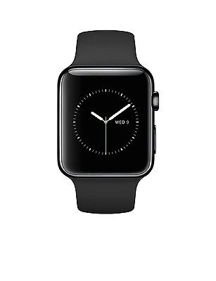 Apple Watch 42MM Space Black Stainless Steel Case w/ Black Sport Band iWatch
