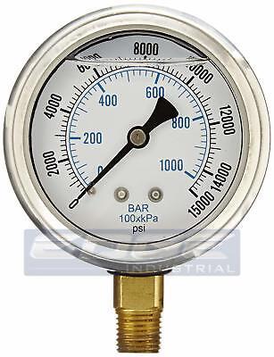 Liquid Filled Pressure Gauge 0-15000 Psi 2.5 Face 14 Npt Lower Mount