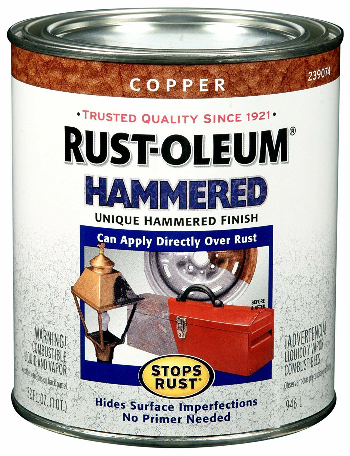 Details About Rust Oleum 239074 Hammered Metal Finish Copper 1 Quart Color Paint Touch Up