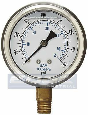 Liquid Filled Pressure Gauge 0-800 Psi 2.5 Face 14 Npt Lower Mount Wog