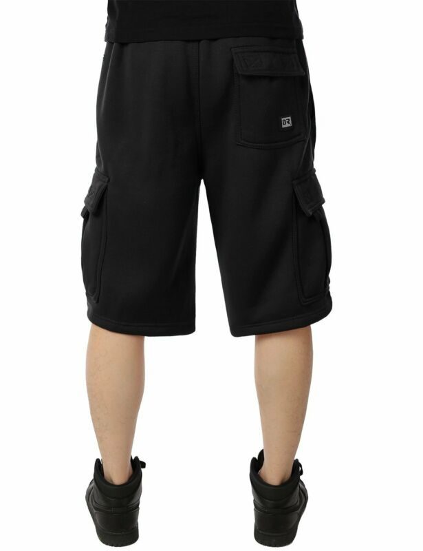 Mens Fleece Cargo Sweat Shorts Multi Pockets Heavy Pants Casual Sports Bottons